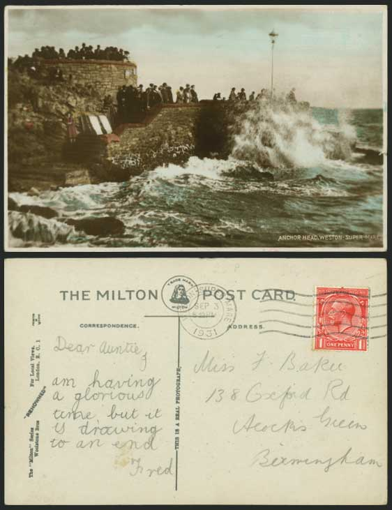WESTON-SUPER-MARE Anchor Head - Rough Sea 1931 Postcard