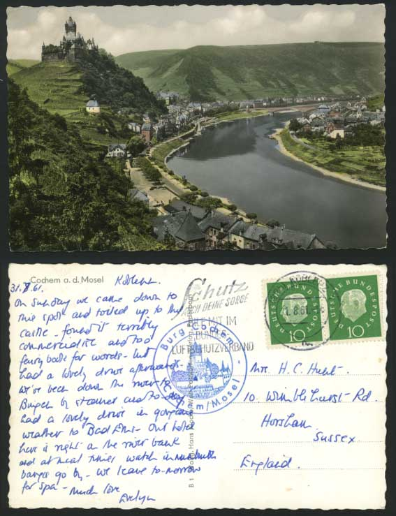 COCHEM a.d. Mosel Germany 1961 Old Postcard River Scene