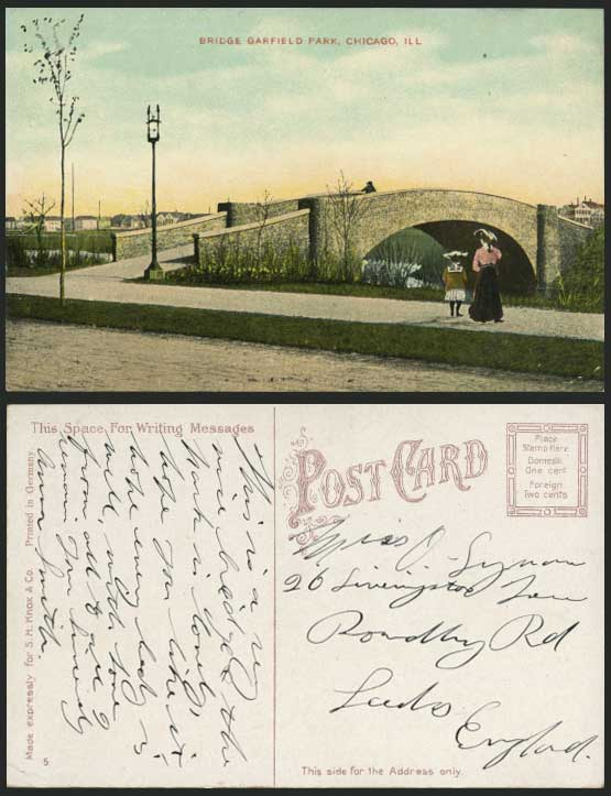 USA Chicago Old Postcard BRIDGE GARFIELD PARK Girl Lady