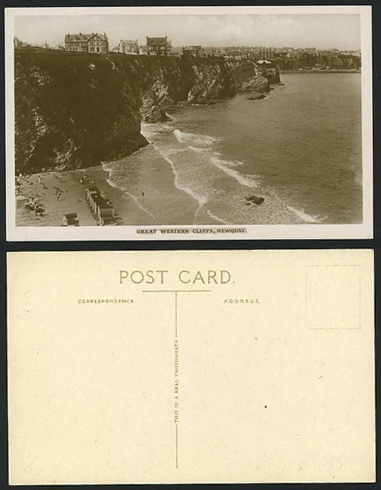 Newquay Old RP Postcard Great Western Cliffs Rock Beach