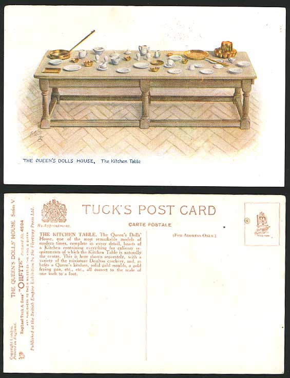 Queen's Dolls' House, Kitchen Table Old Tuck's Postcard