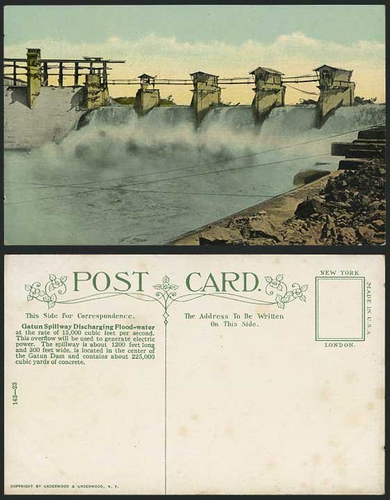 Gatun Dam Spillway Discharging Flood-Water Old Postcard