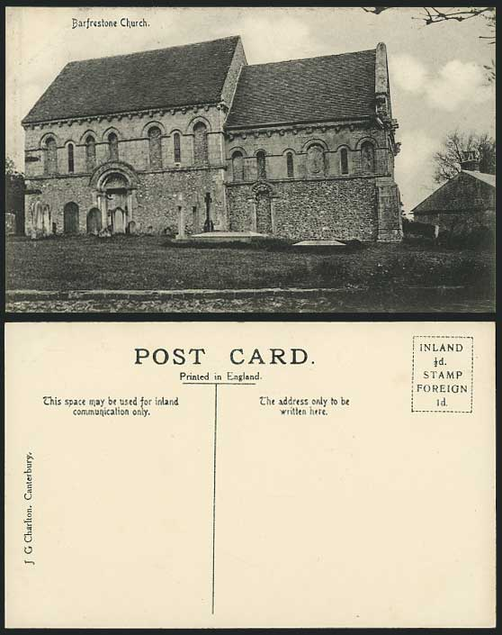 Barfrestone Church St Nicholas' Kent Old Postcard Cross