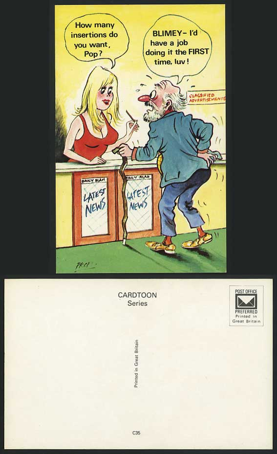 Comic Saucy Old Postcard How Many insertions Do U Want?