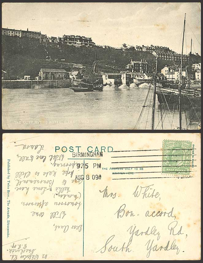 Ilfracombe, CLIFF HYDRO HOTEL Harbour 1909 Old Postcard