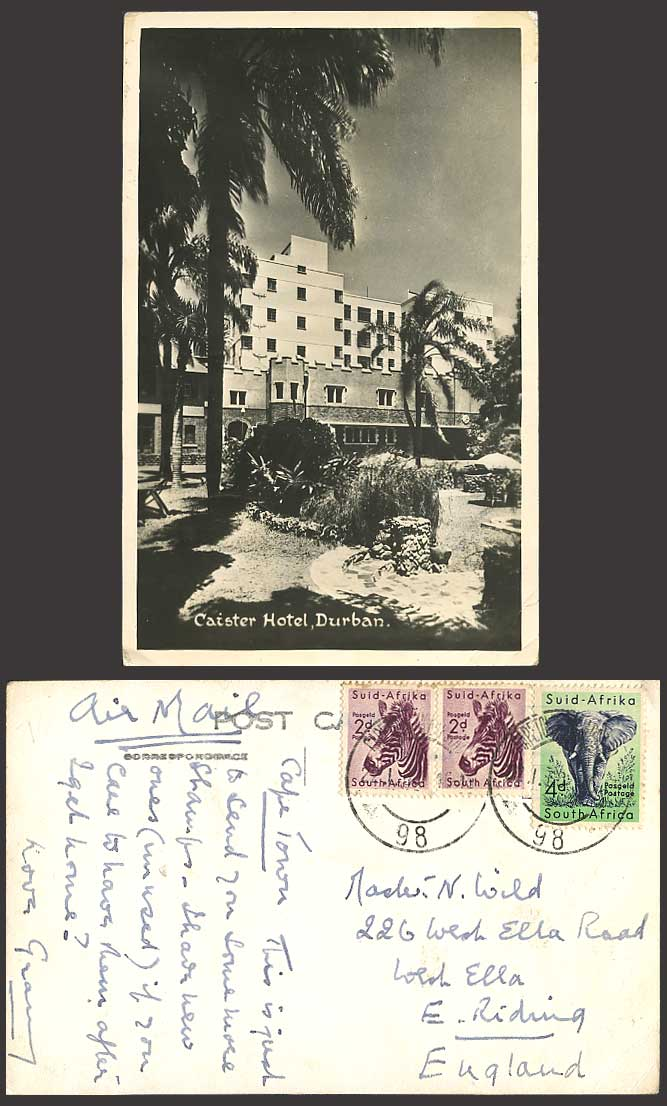 DURBAN 1960 Old Real Photo Postcard CAISTER HOTEL Palms