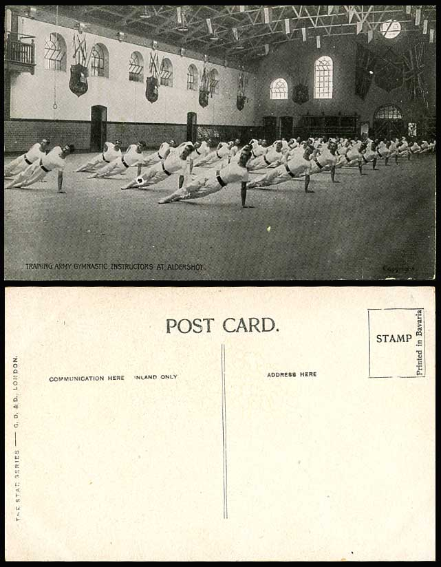 TRAINING ARMY GYMNASTIC INSTRUCTORS at ALDERSHOT - c.1910 Old Postcard Hampshire