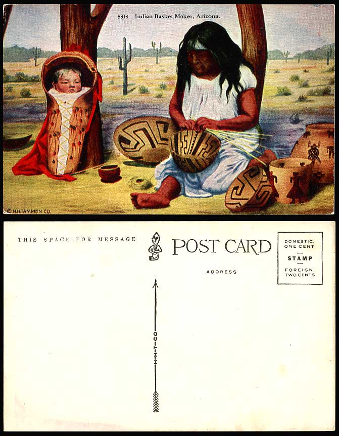 Arizona, American Red Indian Basket Maker, Woman & Baby Ethnic Life Old Postcard