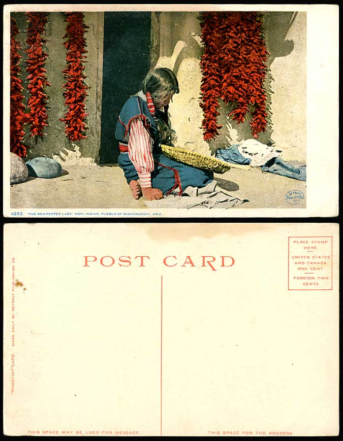 HOPI, Red American Indian, Red-Pepper Lady Woman Ethnic Life Old Colour Postcard