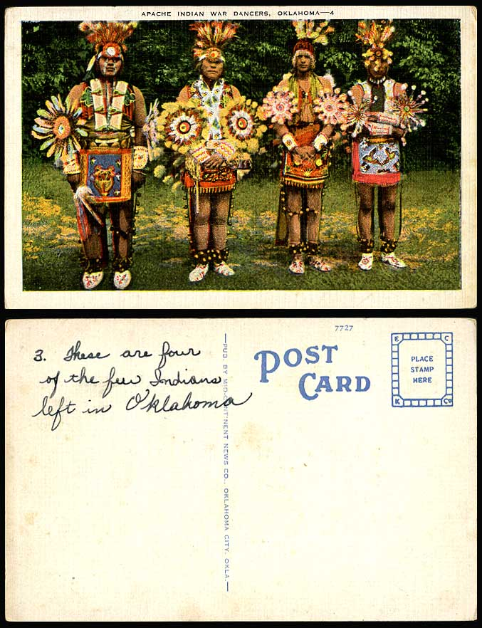 Apache Indian War Dancers Oklahoma Costumes American Red Indians US Old Postcard