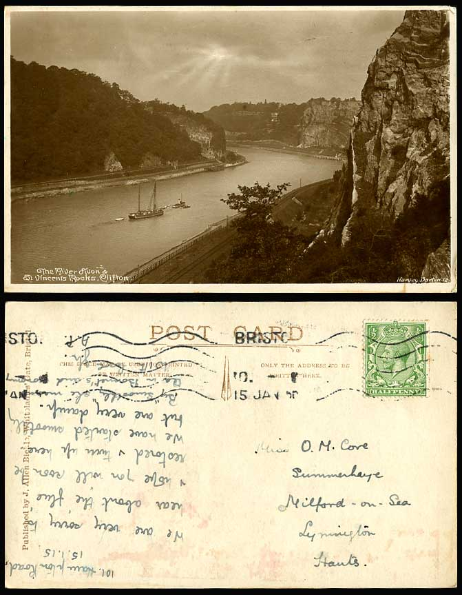 Clifton St Vincent's Rocks River Avon 1915 Old Postcard