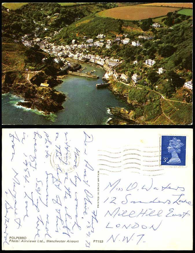 POLPERRO Aerial View 1973 Postcard Harbour Pier & Boats