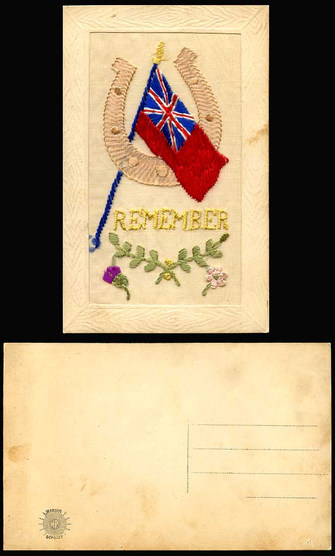 WW1 SILK Embroidered Old Postcard Remember, Horseshoe & Flag, Greetings, Novelty
