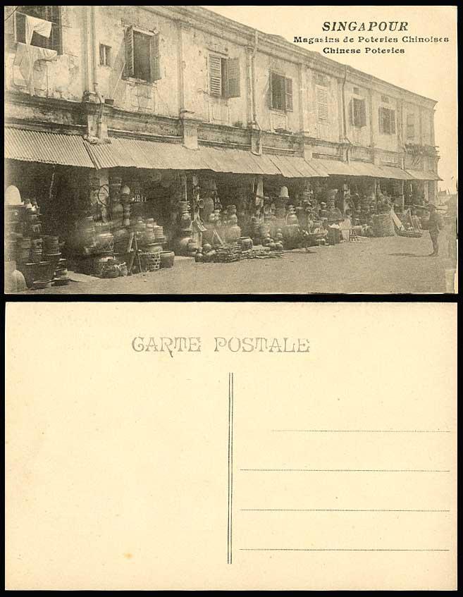 Singapore Old Postcard Chinese Poteries Pottery Shop, Street Scene Native Coolie