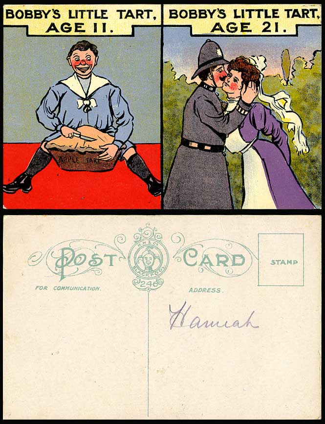 Bobby's Little Tart Age 11 Apple Tart, Age 21 Police Kissing a Lady Old Postcard
