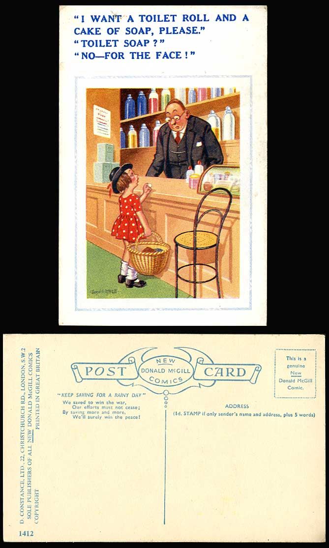 Details about Donald McGill Old Postcard Girl Want a Toilet Roll & a Cake  of Soap For The Face