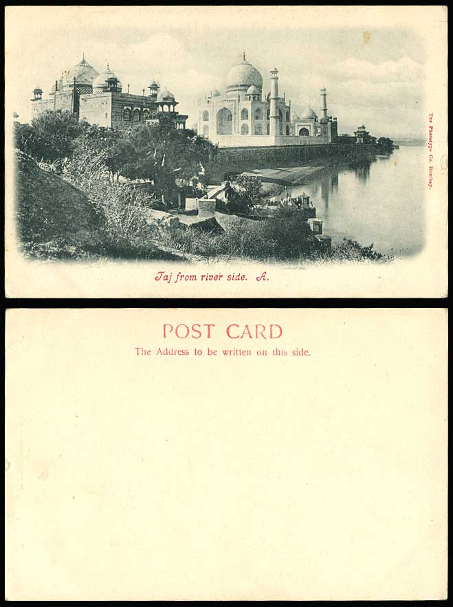 India Old U.B. Postcard The Taj Mahal from River Side Agra River Scene Phototype