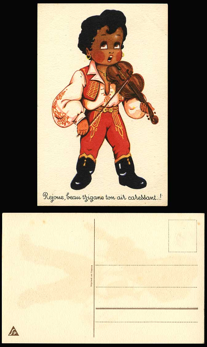 Native Black Violinist Playing Violin Comic Replays Beautiful Gypsy Old Postcard