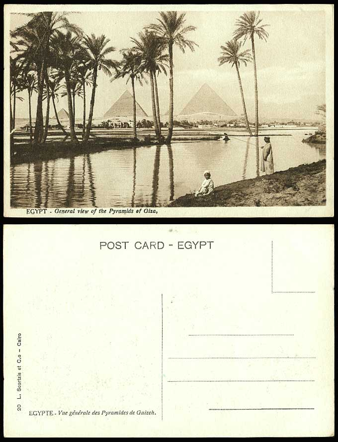 Egypt Old Postcard General View of GIZA PYRAMIDS Native Boys Fishing Angling Nil
