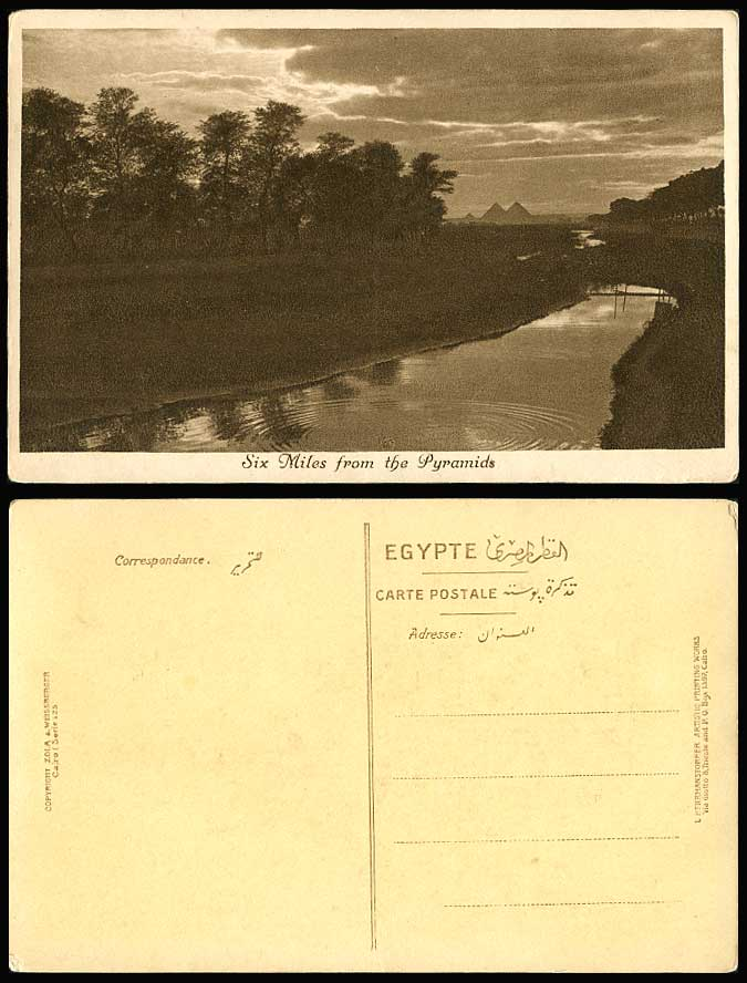 Egypt Old Postcard Six Miles from Pyramids Giza, Nil Nile River Scene & Panorama