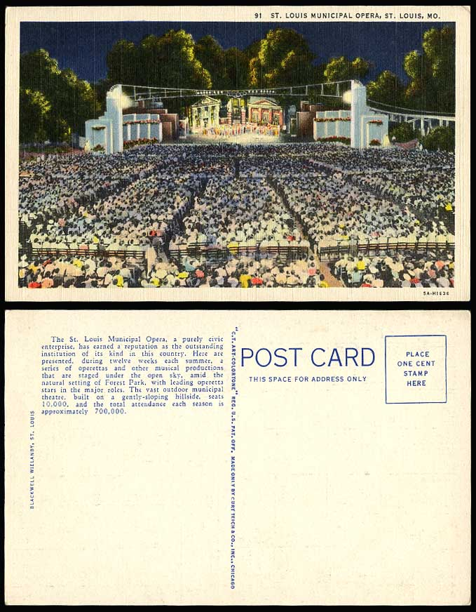 USA Old Postcard St. Louis Municipal Opera MO. Outdoor Theater Stage Forest Park