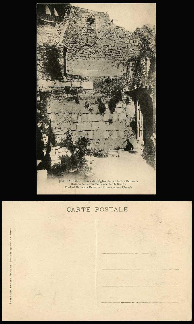 Palestine jerusalem old postcard eglise de la piscine for Piscine de bethesda