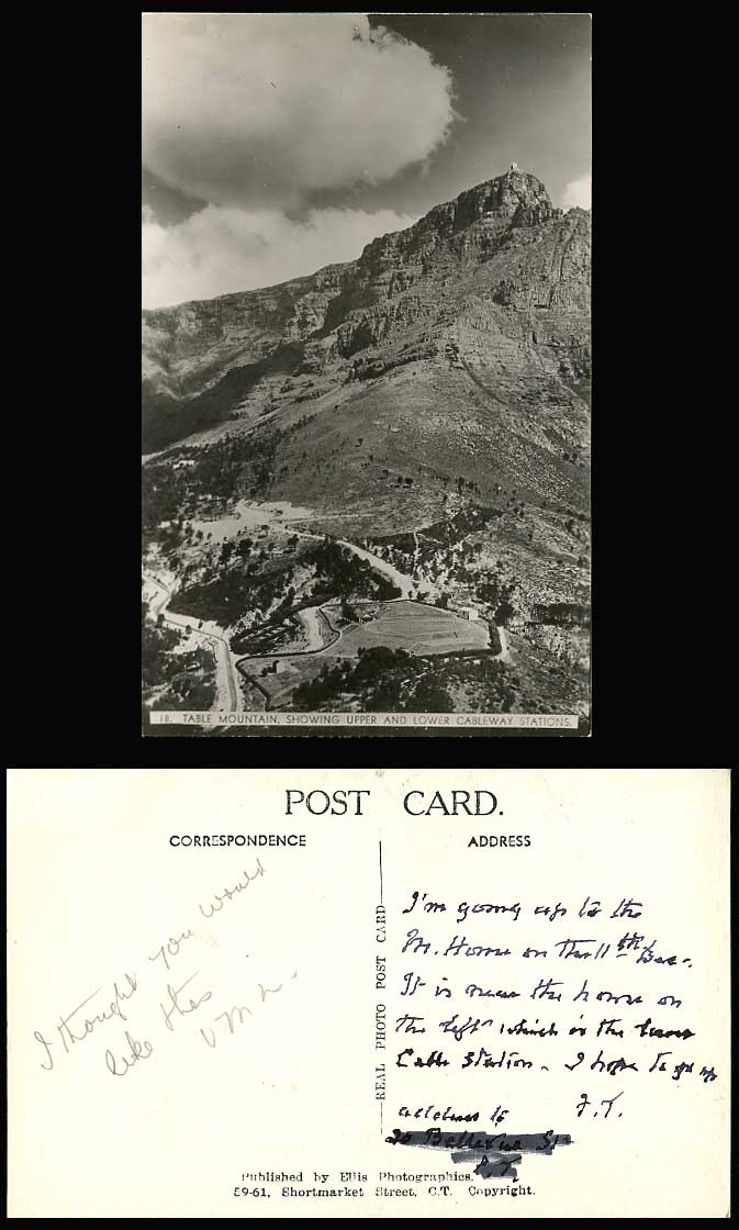 South Africa Table Mountain, Upper and Lower Cableway Stations Old R.P. Postcard