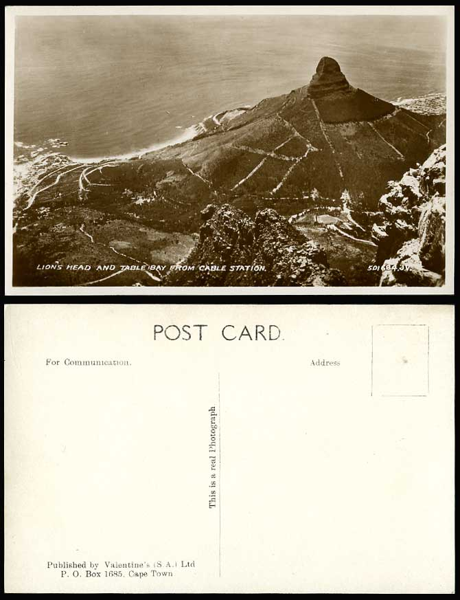 South Africa Lion's Head & Table Bay from Cable Station Old Valentine's Postcard