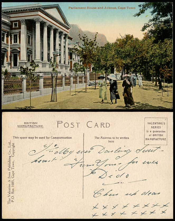South Africa Old Color Postcard Cape Town Parliament House & Avenue Women Ladies