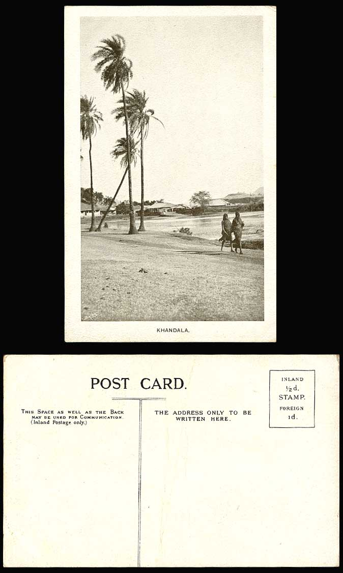 India Old Postcard Khandala, 2 Native Women Ladies Walking by a Lake, Palm Trees