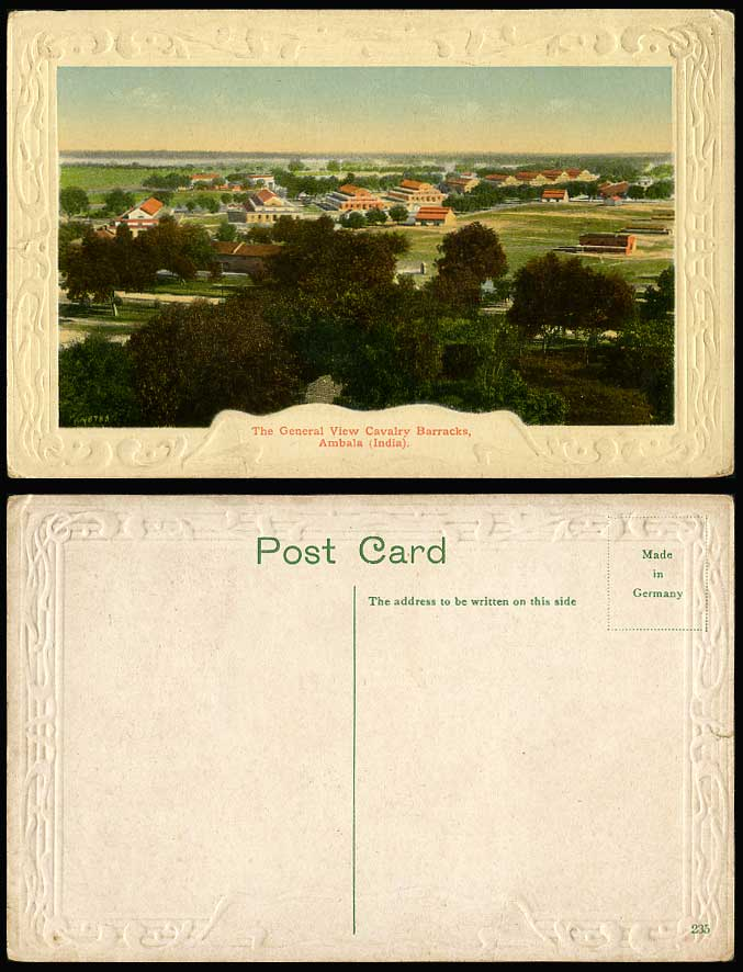 India Old Colour Postcard General View Cavalry Barracks Ambala Military Panorama