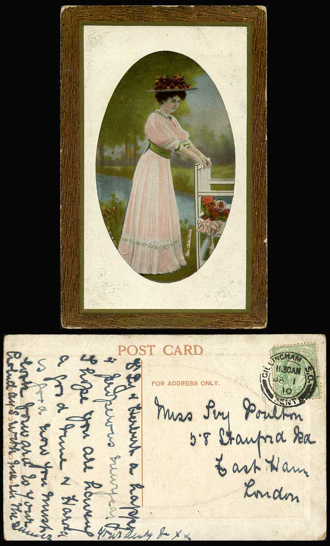 Edwardian Actress Woman Glamour Lady, Riverside Chair, Flowers 1910 Old Postcard