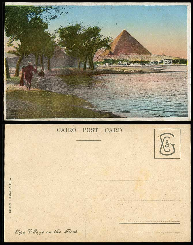 Egypt Old Postcard Cairo Giza Village on The Flood Pyramid Nile River Native Man