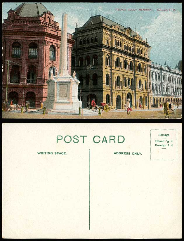 India Old Colour Postcard BLACK HOLE MEMORIAL, Monument, Street Scene, Calcutta