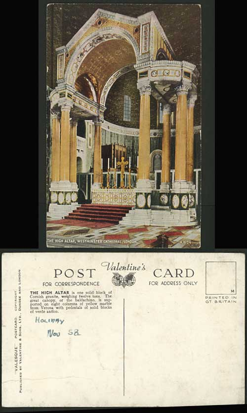 WESTMINSTER CATHEDRAL High Altar LONDON Postcard 1958