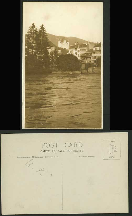 GB UK Very Old Photo Postcard Postkarte RIVER CASTLE