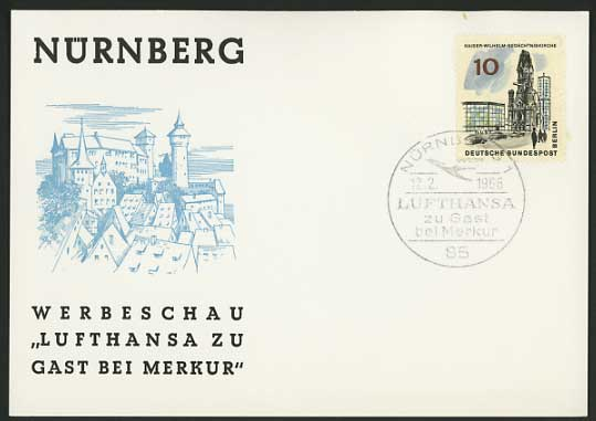 Germany 1966 Card NUREMBERG FORT Berlin Memorial Church