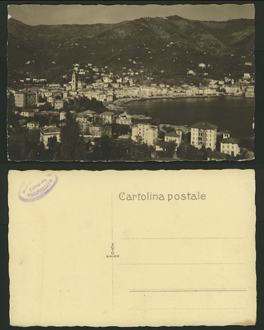 Portugal Old Postcard COASTAL TOWN MOUTAINS Harbour Bay