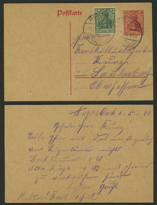 Germany 1920 10p on 5p Germania Postal Stationery Card