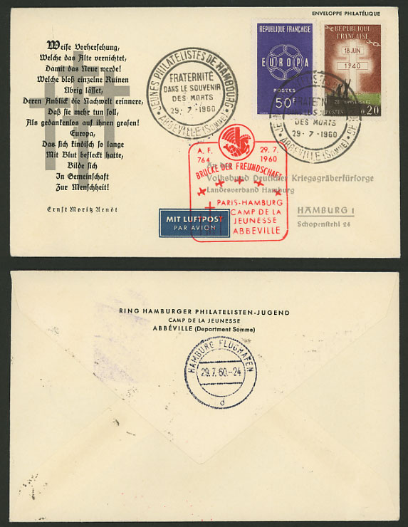 France Germany Hamburg 1960 Bridge of Friendship Cover