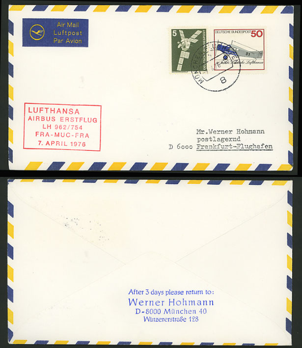 Munich Frankfurt 1976 LUFTHANSA 962 First Flight Cover