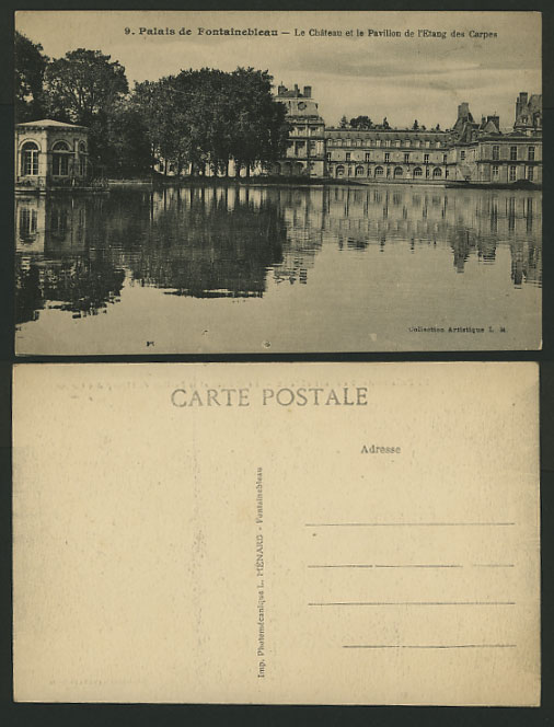 France Old Postcard Lake Palace PALAIS DE FONTAINEBLEAU