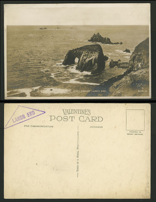 Cornwall Valentine PHOTO Postcard Enys Dodman Lands End