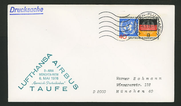 Germany Munich 1976 LUFTHANSA Airbus Taufe Flight Cover