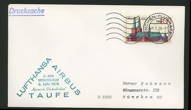 Munich 1976 Lufthansa Flight Cover Lubeck Cathedral 40p
