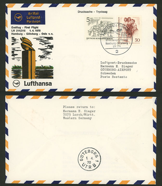 Germany Sweden 1970 LUFTHANSA LH 214 First Flight Cover