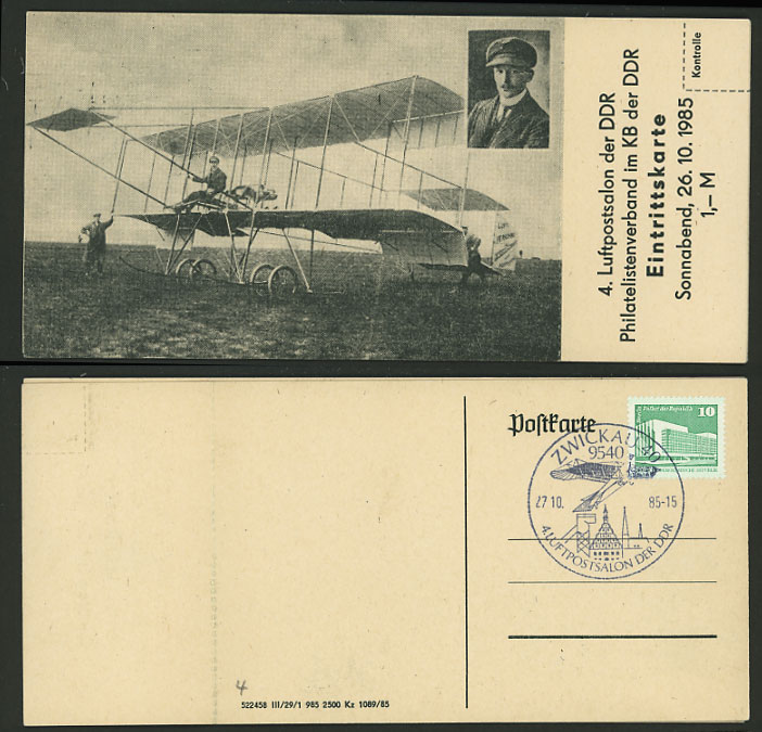 BIPLANE - East Germany ZWICKAU DDR 1985 Flight Postcard