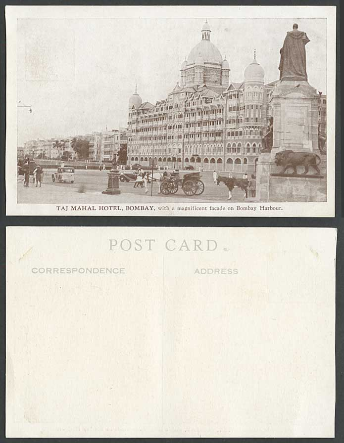India Old Postcard TAJ MAHAL HOTEL, Bombay, Magnificent facade on Bombay Harbour
