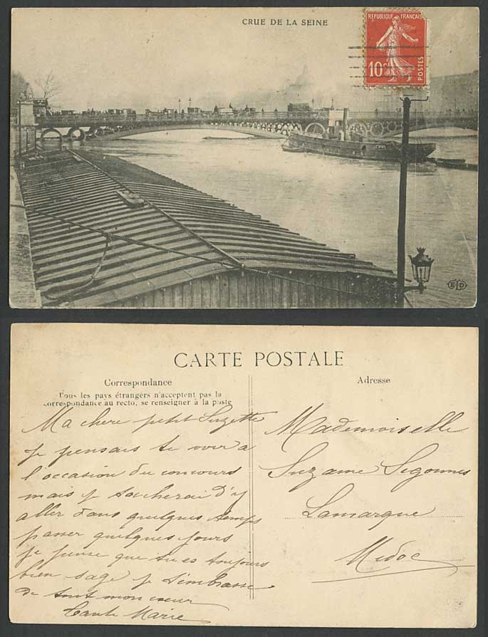 PARIS FLOOD 10c 1910 Old Postcard Crue de la Seine Bridge Flooded River Flooding