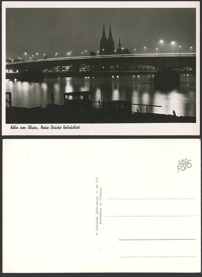 Germany Old Postcard Cologne Night, Rhein River Cathedral New Bridge Illuminated
